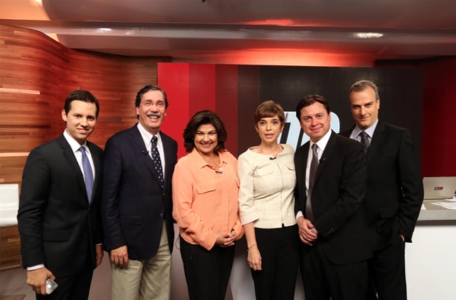 Time de comentaristas da GloboNews: muita gente e uma única opinião