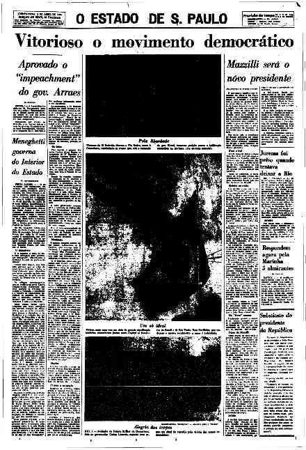 Capa do jornal O Estado de S. Paulo no dia seguinte ao golpe de 1964