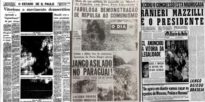 Jornais receberam efusivamente o Golpe Militar de 1964, exaltando mobilização de rua e legalidade do processo. O mesmo caminho trilhado em 2016