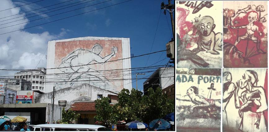 O famoso mural da Rua da União pintado pela Brigada Portinari no Centro do Recife. Do lado, detalhes de outras obras pintadas nos muros da cidade