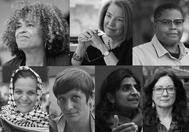 As autoras do manifesto pela greve internacional de 8 de março: Angela Davis, Cinzia Arruzza, Keeanga-Yamahtta Taylor, Linda Martín Alcoff, Nancy Fraser, Tithi Bhattacharya e Rasmea Yousef Odeh