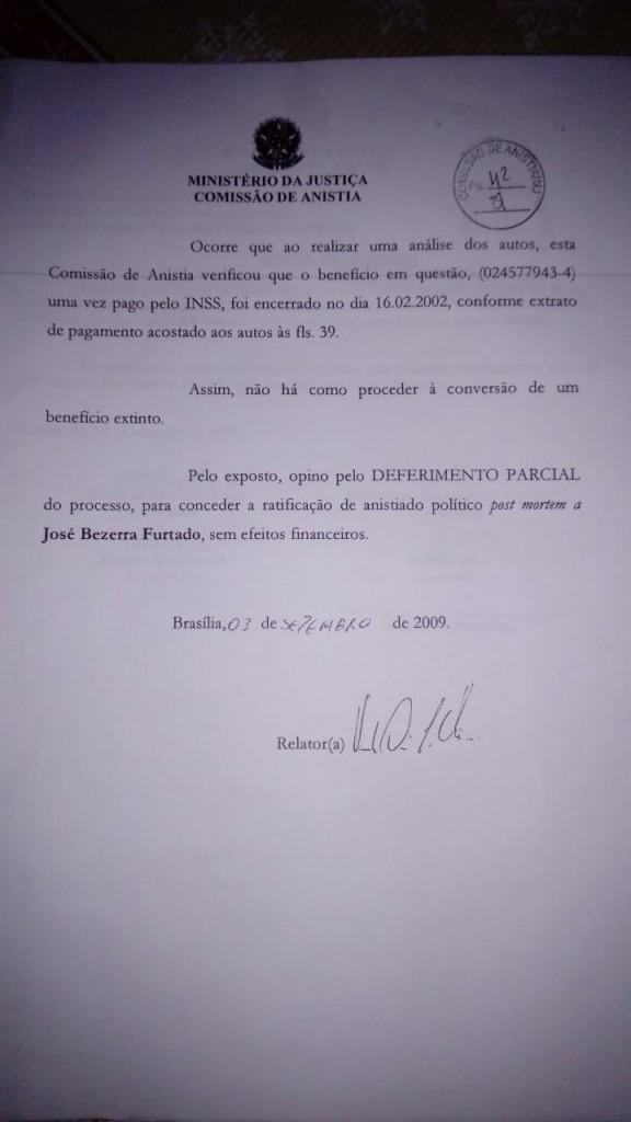 Documento que relata o cancelamento do processo de indenização a família perdeu na justiça