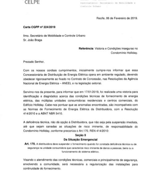 Carta da Celpe traz poucos detalhes sobre situação do condomínio (Crédito: Reprodução)
