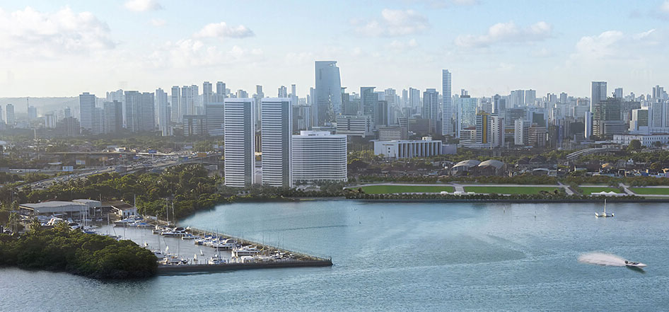 Projeção dos três primeiros prédios do Novo Recife