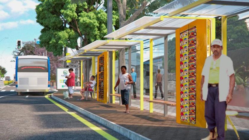 Sugestão de fiteiro na parada de ônibus. Imagem: Unicap