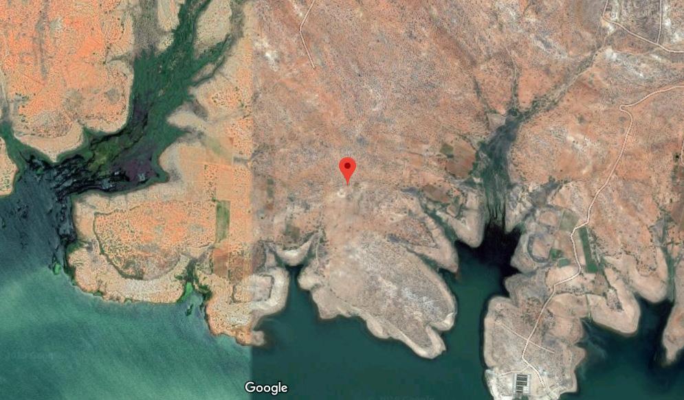 Local pré-selecionado para a instalação da usina nuclear. Imagem: Google Maps