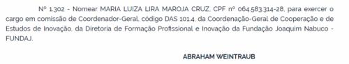 Nomeação de Maria Luiza Maroja