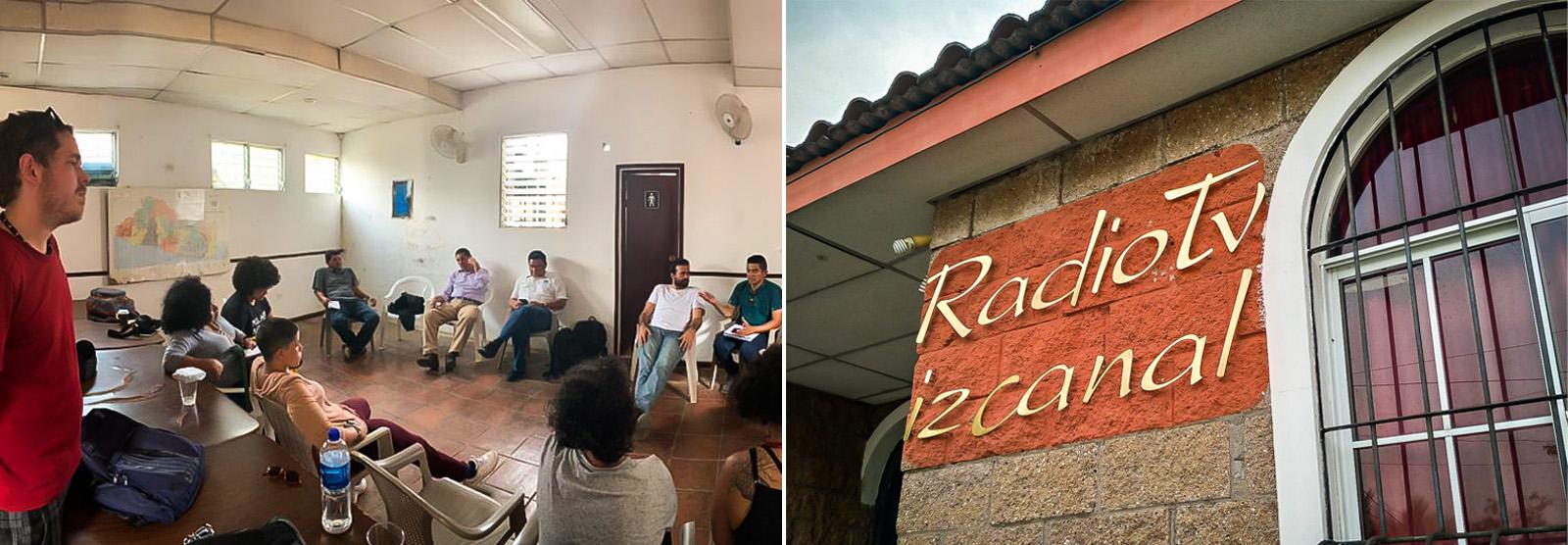 Grupo de jornalistas brasileiros do Intercâmbios Latinos conhece a Rádio e IzCanal, em El Salvador. Foto: Raul Santiago