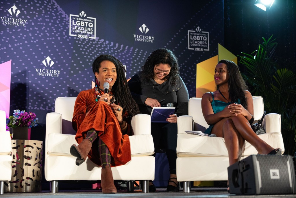 Conferência do Victory Institute em Washington, com a presença de Erika Malunguinho e Robeyoncé. Foto: Divulgação
