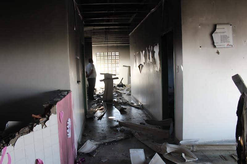 Escola e posto de saúde incendiados em terra indígena Pankararu. Foto: Divulgação Povo Pankararu